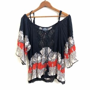 Angie Bohemian Bell Sleeve  Blouse Black Red NWT